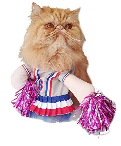 Glamour Girlz grappige hond kat cheerleader jurk grappige outfit halloween kostuum, Small, Kleur: wit