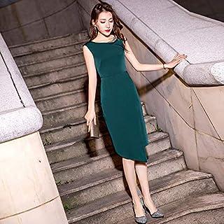 مأدبة حبر أخضر مساء صغير فستان عشاء مزاجي المرأة فستان طويل فستان امرأة M 墨绿色【无袖中长款】