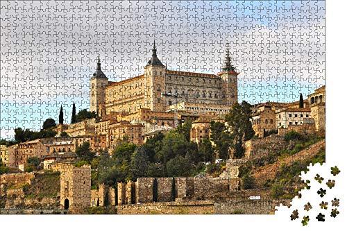 Jigsaw Puzzles 1000 Piezas,España Castillo Alcazar Toledo Rompecabezas De Madera Diy Paisaje De National Geographic,Puzzle De Juegos Para Niños Y Adultos,Puzzle Personalizado Privado(75*50Cm)