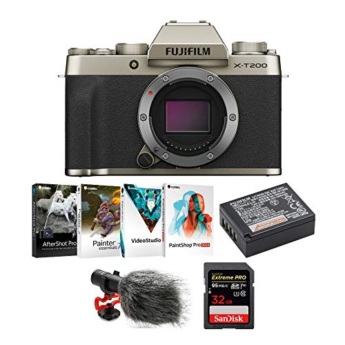 Lowest Prices! Fujifilm X-T200 Mirrorless Digital Camera Body (Champagne Gold), Coral Software Suit, Li-Ion Battery, Koah Simah Condenser, Microphone, 32GB Memory Card Bundle (5 Items)