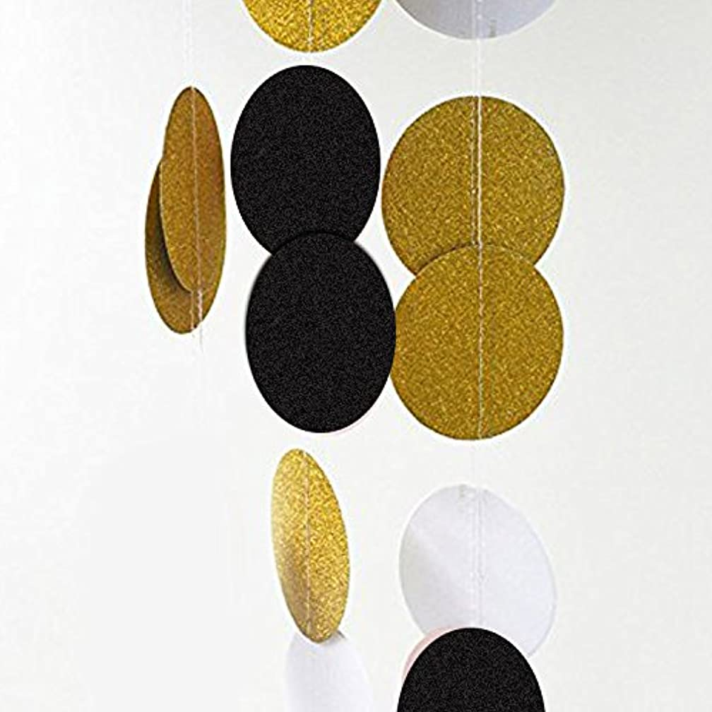 2 Pcs Circle Polka Dots Glitter Paper Garland Banner (Black+White+Gold)