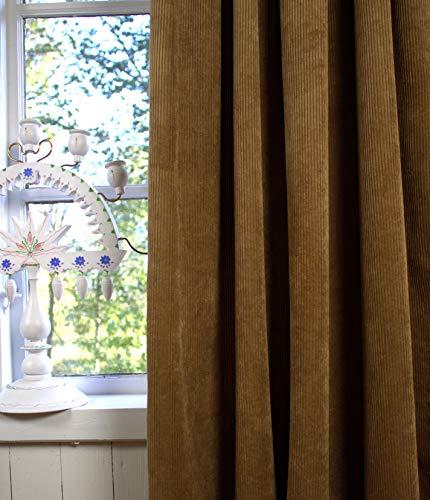 LillaBelle Vorhang Suna Kord Cognac 140x250 cm 2 Stück Blickdicht Gardinen Schals