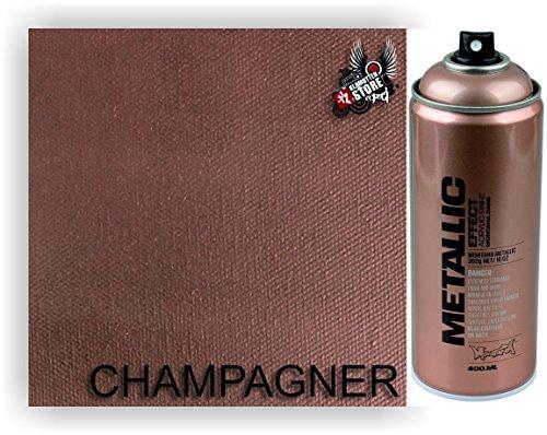 Montana Sprühdose Gold, Kupfer, Champagner verschiedene Effekte und Farbnuancen schwarz glanz und matt, Esatzsprühköpfe/Caps von Klamottenstore (Champagner)