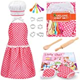 KKONES Kids Cooking Baking Set 17Pcs, Kids Chef Role Play Costume Set - Chef Hat and Matching Pink Apron Children Dress up Pretend Gift for 3 4 5 6 7 8 Year Old Girls Toys