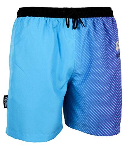GUGGEN Mountain Badehose für Herren Schnelltrocknende Badeshorts B12 mit Kordelzug Beachshorts Boardshorts Schwimmhose Männer mit Muster Blau Lila XXXL