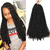 Passion Twist Hair 18 pulgadas 8 paquetes de pelo de ganchillo ondulado de agua, pasión, trenzado, trenzas sintéticas extensiones de pelo