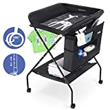 Baby Changing Table with Wheels, FORSTART Adjustable Height Folding Diaper Station...