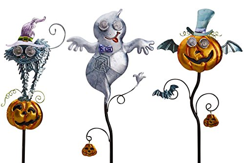 Hair-Raising Cat, Ghost and Winged Pumpkin Solar Powered Stakes