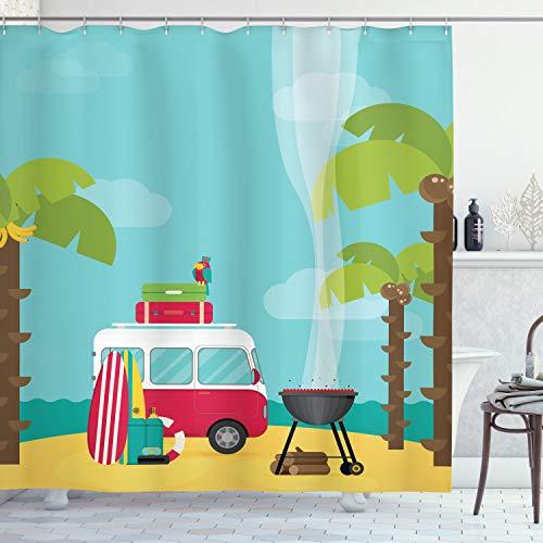 ABAKUHAUS Erkunden Duschvorhang, Wohnwagen Camping Strand, mit 12 Ringe Set Wasserdicht Stielvoll Modern Farbfest und Schimmel Resistent, 175x180 cm, Mehrfarbig