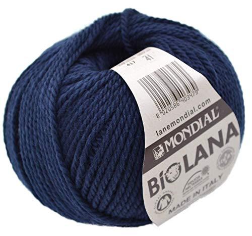 Mondial Wolle BioLana Naturwolle Fb. 417 - Marine, 50g Organic Wool, Biowolle, Reine Schurwolle zum Stricken und Häkeln
