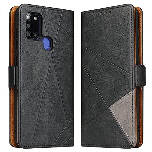 BININIBI Hülle für Samsung Galaxy A21s, Klapphülle Handyhülle Schutzhülle für A21s Tasche, Lederhülle Handytasche mit [Kartenfach] [Standfunktion] [Magnetisch] für Samsung Galaxy A21s, Schwarz