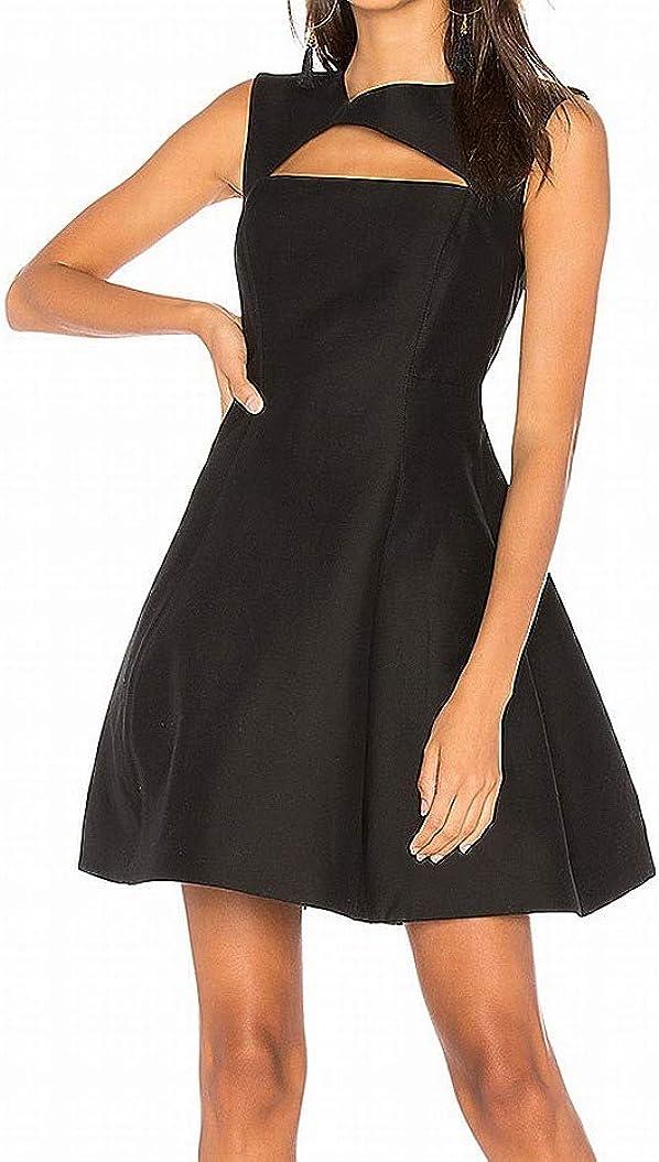 Halston Heritage Women's Cap Sleeve Asymmetrical V Neck Dress with Geometric Cut Out
