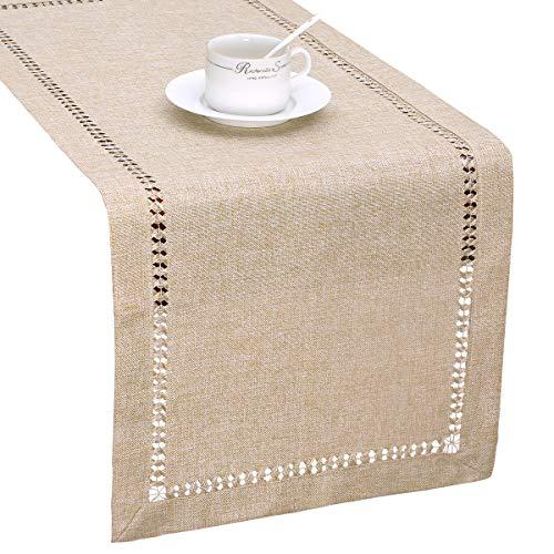 Grelucgo Handmade Hemstitch Beige Table Runner Or Dresser Scarf, Rectangular 14 by 48 Inch