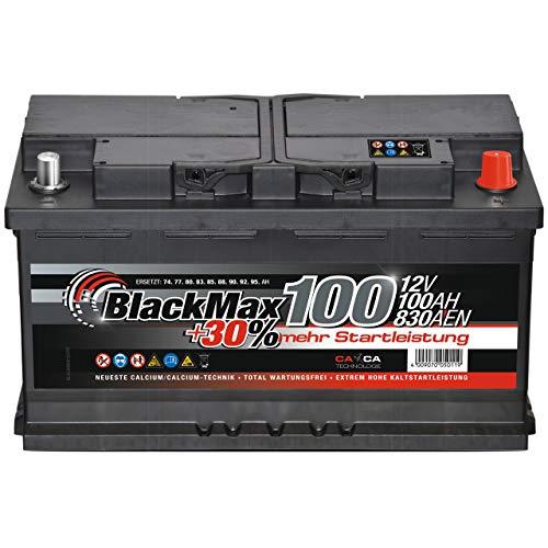 BlackMax Autobatterie 12V 100Ah 800A Starterbatterie MAX95 +30 Edition ersetzt 85Ah 88Ah 92Ah 95Ah