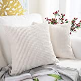 MERNETTE Pack of 2, Corduroy Soft Decorative Square Throw Pillow Cover Cushion Covers Pillowcase, Home Decor Decorations for Sofa Couch Bed Chair 18x18 Inch/45x45 cm