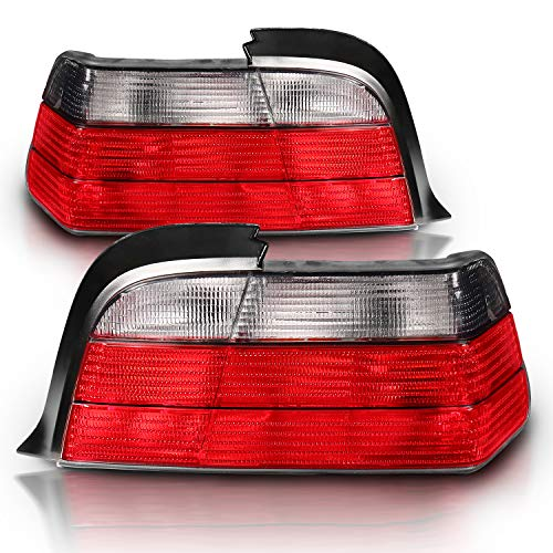 AmeriLite 2 Door Coupe Replacement Brake Tail Lights Red/Smoke Set for 92-98 BMW 3 Series E36 - Passenger and Driver Side