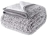 EMME Plush Sherpa Blanket Ultra Soft Warm Microfiber 60'x80' Cozy Blanket for Bed Sofa in Winter Lightweight Fuzzy Thick Reversible Couch Blanket (Grey)
