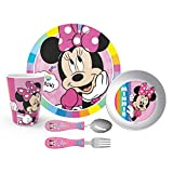 Zak Designs Dinnerware Set Includes Plate, Bowl, Tumbler and Utensil Tableware, Made of Durable Material and Perfect for Kids, 5pc Cup-Untensils, Minnie Mouse