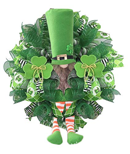 Front Door Wreath St Patrick's Day Leprechaun Wreath Spring Valentines St Patricks Day Wreath Green Farmhouse Garland Decor for Home Wreaths Greenery for Wedding Kitchen Wall Décor 45x45cm (1pc, A)