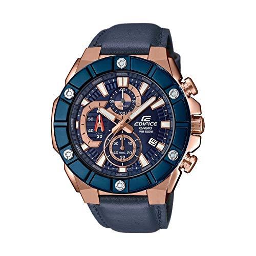 Casio Reloj Analógico para Hombre de Cuarzo con Correa en Cuero EFR-569BL-2AVUEF