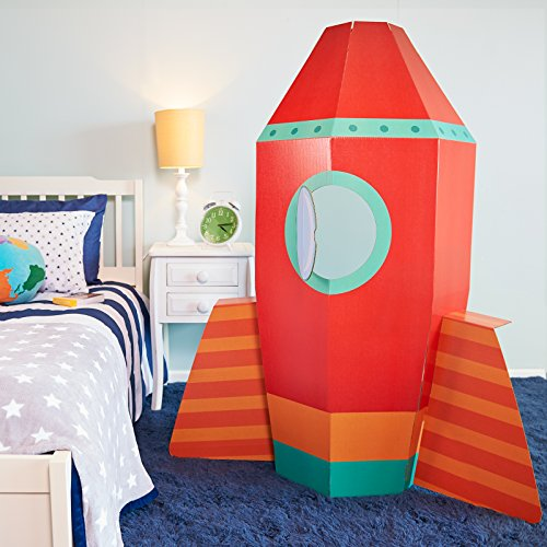 Solar System Rocket to Space Astronaut Room Decor - Spaceship Cardboard Stand in