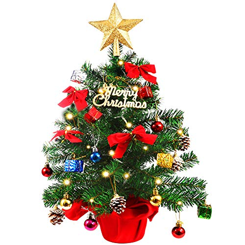 Litake Weihnachtsbaum Tisch 60CM,Weihnachtsbaum Künstlich Mini Xmas Kiefer mit Beleuchtung LED-Lichterketten& Ornamente