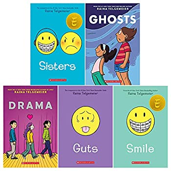 Raina Telgemeier Collection 5 Books Set  Sisters Drama Smile Ghosts Guts
