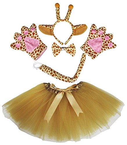 Petitebelle Diadema Bowtie Guantes de cola Tutu niña Disfraz de 5 piezas Un tamaño jirafa de Brown