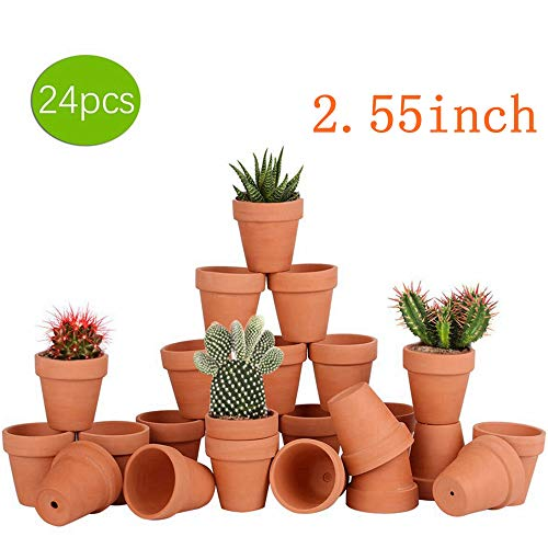 24pcs Small Mini Clay Pots, 2.55'' Terracotta Pot Clay Ceramic Pottery Planter, Cactus Flower Terra Cotta Pots, Succulents Nursery Pots, with Drainage Hole, for Indoor/Outdoor Plants, Crafts,Wedding