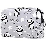 TIKISMILE Happy Cute Panda - Bolsa de maquillaje grande, bolsa de aseo de viaje, bolsa de maquillaje portátil para mujeres y niñas