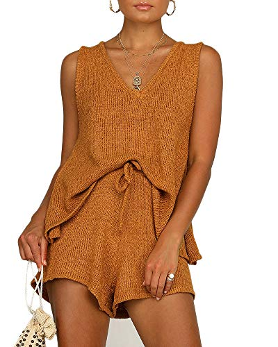 Womens Summer 2 Piece Outfits Sexy Sheer Romper Stripe Jumpsuit Casual Strappy Tie Waisted Beach Shorts Uniform Sets Khaki