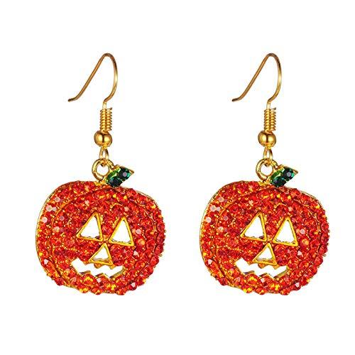 Ruby569y Pendientes colgantes para mujeres y niñas, con incrustaciones de calabaza con incrustaciones de circonita cúbica, regalo de joyería de Halloween, color naranja