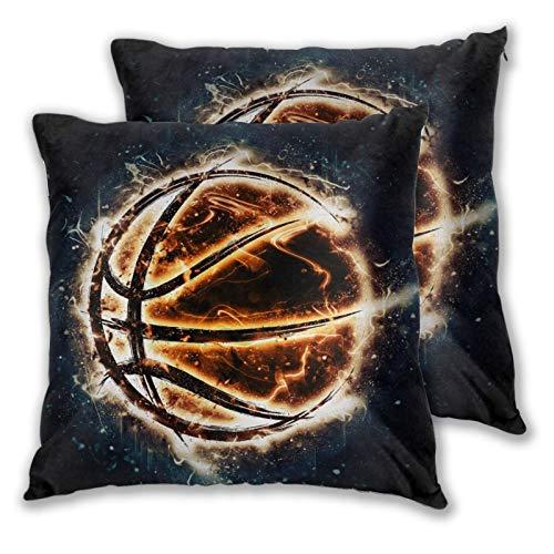 ZELXXXDA Kissenbezüge, 2er-Set,Brennender Basketball auf schwarzem HintergruDekorative quadratische Kissenhülle für Sofa Couch Schlafzimmer Auto 16