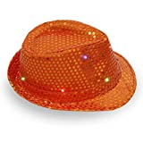 JKLKJ Sombrero de Jazz Que Brilla intensamente LED de Navidad de Halloween Sombrero barato-11