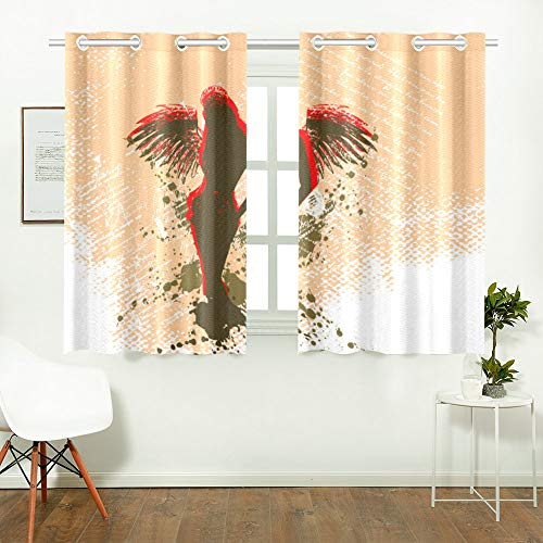 WIEDLKL Long Curtains for Living Room Angel Grunge Best Window Curtain Men Bedroom Curtains for Cafe Bath Laundry Living Room 26x39inch 2pieces
