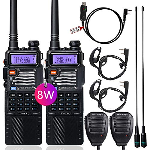 TIDRADIO UV-5R High Power Ham Radio Handheld Dual Band Two Way Radio with Driver Free Programming Cable and 3800mAh Battery Includes Full Kit UHF VHF Walkie Talkie (2Pack)