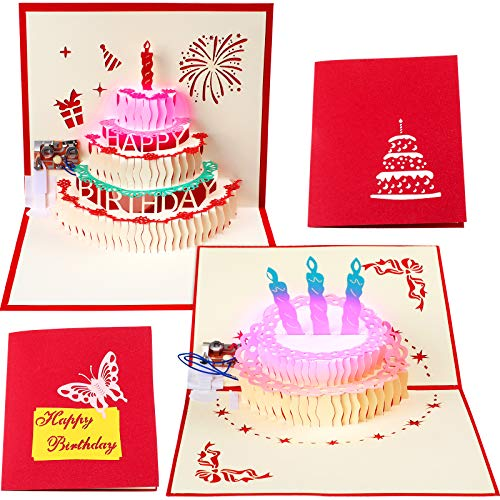 2 Pieces 3D Pop Up Greeting Cards, LED Light Happy Birthday Music Card with Envelope Birthday Cake Pop Up Cards for Kids Men Women