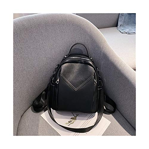 Youpin Solid Color PU Leather Backpacks For Women Fashion Female Small Backpack Lady Back Pack For School Teenagers Girls (Color : Black, Size : 28cmx22cmx11cm)