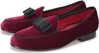 FERUCCI Handmade Burgundy Men Velvet Slippers Loafers with Black Bow