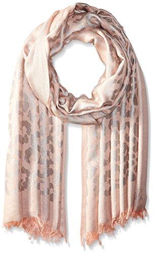 Badgley Mischka Women's Ocelot Lurex Jacquard Wrap Scarf, peach/silver, One Size