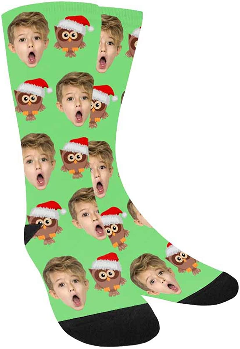 Custom Personalized Socks for Girls An Owl in A Santa Hat with F