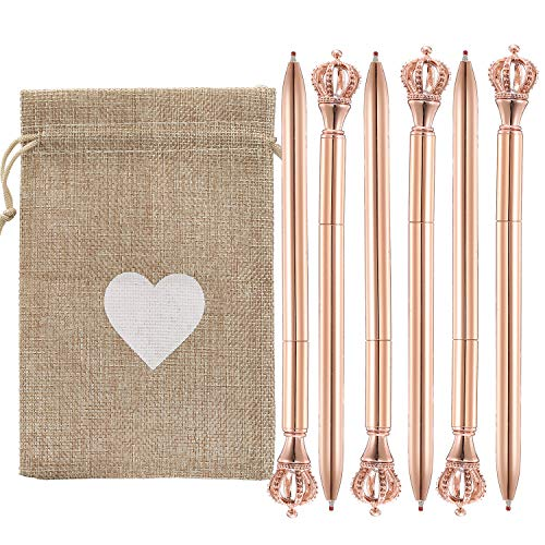 6PCS Metal Crown Ballpoint Pen Bling Ballpoint Pen Offices and Schools Package for Baby Shower Wedding Anniversary Favor Gift with Heart Burlap Bag (6, Crown)