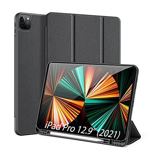 DUX DUCIS Custodia Cover per iPad PRO 12.9 inch 2021/2020, [Support Apple Pencil Charging] Case in TPU con Slot per Penna, Cover Tri-Fold Avvio/Arresto Auto, Nero