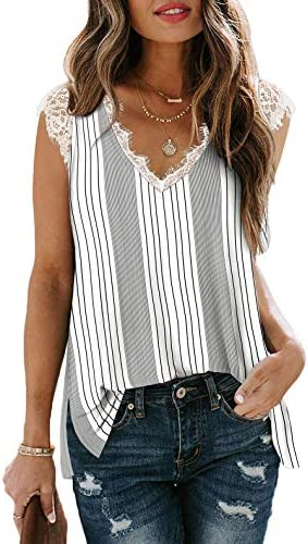 Women s White Stripe Tank Tops V Neck Lace Trim Sleeveless Tops Side Split L product image