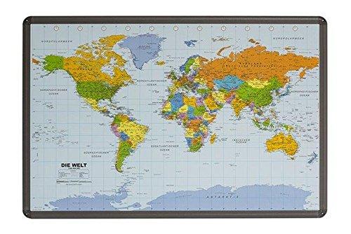 Politische Weltkarte auf Kork-Pinnwand mit Alu-Berahmung, 90x60cm: in deutscher Beschriftung