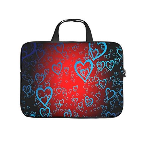 Bolsa para ordenador portátil resistente al agua con corazones azules, para el trabajo, el negocio