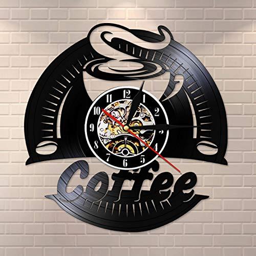 NUYI Reloj de Pared con Disco de Vinilo de café, Reloj Decorativo de diseño Moderno, Pegatinas de Cocina, Relojes de CD Vintage, Reloj de Pared para Barista, Tienda de café