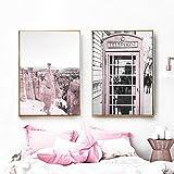 QZROOM Pink Flower Bus Cabina de teléfono Rock Love Quote Arte de la Pared Pintura en Lienzo Carteles e Impresiones nórdicos Cuadros de Pared para Sala de Estar -50x70cmx2 Sin Marco