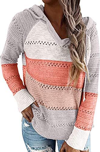 ZIYYOOHY Sweter z dzianiny, blok kolorowy, dekolt w kształcie litery V, długi rękaw, casual, dzianina, sweter z kapturem, sweter