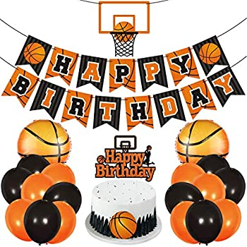 Basketball Birthday Party Decoration Slam Dunk Kids Teenagers Adult B-Day Banner Cake Cupcake Topper Photo Props March Madness Sports Balloons Backdrop Ideas Favor Supplies